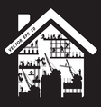 Home icon construction worker silhouette at work vector image