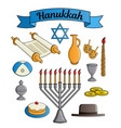 icons collection of the jewish holiday hanukkah vector image