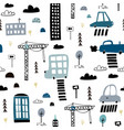 seamless pattern with hand drawn city print vector image