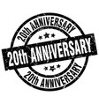 20th anniversary round grunge black stamp vector image vector image