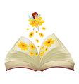 A book with a fairy and flowers vector image vector image