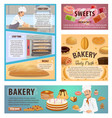 bakery and patisserie baking process posters vector image vector image