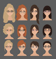 beautiful collection of female in glasses vector image vector image