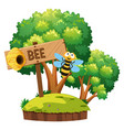 bee flying around in garden vector image