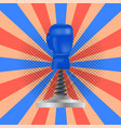 boxing day sale icon with sport blue glove vector image vector image