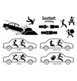 car seat belt and airbag artworks depict car vector image vector image
