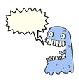 cartoon gross ghost with speech bubble vector image vector image
