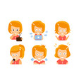 cartoon red-haired girl with a radio laptop vector image vector image