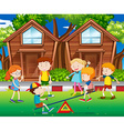 Children playing seesaw in the park vector image