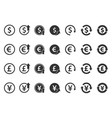 currency icons set - dollar euro pound and yen vector image