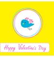 Cute blue bird Happy Valentines Day vector image vector image