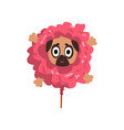 cute funny pug dog character inside pink donut vector image vector image