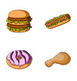 fast food meal and other web icon in cartoon vector image vector image