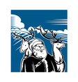 Father Christmas Santa Claus with reindeer vector image vector image