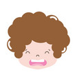 full color boy head with curly hair and disgusted vector image