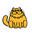 funny cartoon contour mafia cat vector image