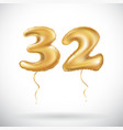 golden number 32 thirty two of inflatable balloon vector image vector image
