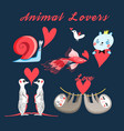 graphics festive set animal lovers vector image vector image
