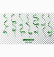 green curly ribbon serpentine confetti green vector image vector image