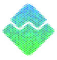 halftone blue-green waves currency icon vector image vector image
