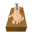hand nailed on cross vector image vector image