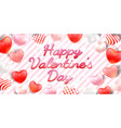 happy valentine day with pink red white heart vector image vector image