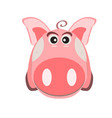 image of a cartoon pink pig the symbol of the vector image vector image
