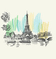 landscape view eiffel tower vector image vector image