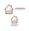 logo combination of a graph and house vector image vector image