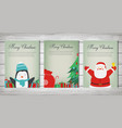 merry christmas greeting cards collection vector image vector image