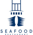 negative space concept seafood restaurant vector image