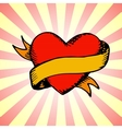 Old-style tattoo heart with ribbon vector image vector image