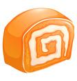 Orange cake roll with cream vector image vector image
