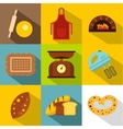 Patisserie icons set flat style vector image vector image