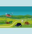 peaceful rural cattle farm landscape with farm vector image