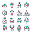 people team outline icons work group pictograph vector image vector image