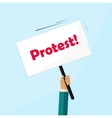 protester hand holding protest sign board isolated vector image vector image