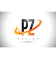 pz p z letter logo with fire flames design and vector image vector image