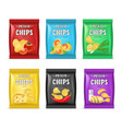realistic detailed 3d chips advertisement bag set vector image vector image