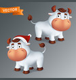 set funny silver ox animals in red santas hat vector image vector image