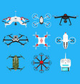 set of modern air drones quadrocopters and remote vector image vector image