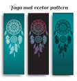 set of yoga mat with dreamcatcher pattern vector image vector image