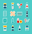 stickers medicine pharmacy vector image vector image