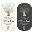 two labels for olive oil with an olive tree vector image vector image