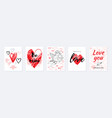 valentine s day card design set poster with vector image
