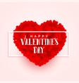 valentines day 3d heart banner design vector image