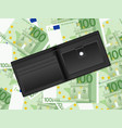 wallet on one hundred euro background vector image vector image