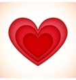Bright red plastic cutout hearts vector image
