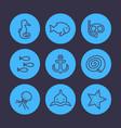 sea line icons set shark fish shell medusa vector image