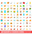 100 bakery and cooking icons set cartoon style vector image vector image
